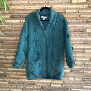 Robert Stock Vtg 80s Teal Quilted Puffer Jacket